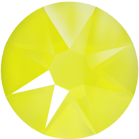 Flatback Crystals, No-Hotfix, Round, Electric Yellow